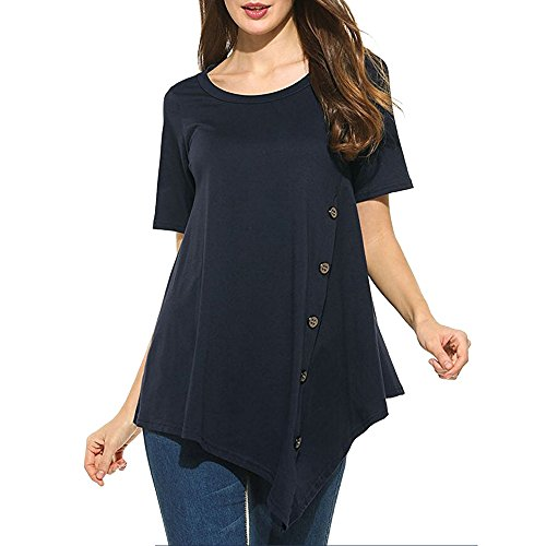 Clearance Womens Tops ,KIKOY Summer Vintage Cotton Linen Long Sleeve Shirt Casual Loose Blouse (XL, Navy #)