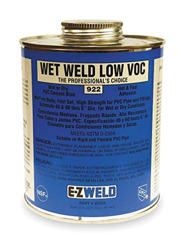 (Ez Weld Cement, Blue, 32 oz., for PVC Pipe And Fittings - 22204, Pack of 2)