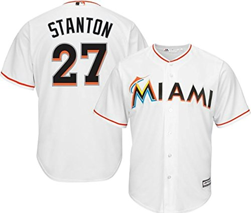 VF Miami Marlins MLB Mens Majestic Giancarlo Stanton Cool Base Replica Player Jersey White Big & Tall Sizes (2XT)