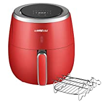 GoWISE USA 5.3-Quart Air Fryer with Kabob Rack, 8 Cooking Presets + 50 Recipes (Red)