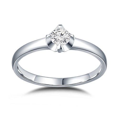18ct 750Or blanc sertie d'un diamant mince Bande de mariage Proposition Engagement Ring (0,17carat au total, G-H Couleur, Vs2-si1Clarté)