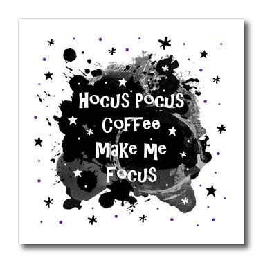 3dRose InspirationzStore - Occasions - Hocus Pocus Coffee Make me Focus - Funny Halloween Humor Witches Spell - 8x8 Iron on Heat Transfer for White Material (ht_317312_1) -