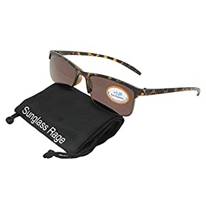 Style R41 Slim Shape Reading Sunglasses With Sunglass Rage Pouch (Tortoise Frame-Brown Lenses, 1.75)