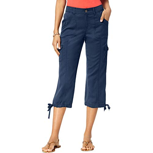 Style & Co. Womens Cropped Mid-Rise Cargo Pants Blue 8