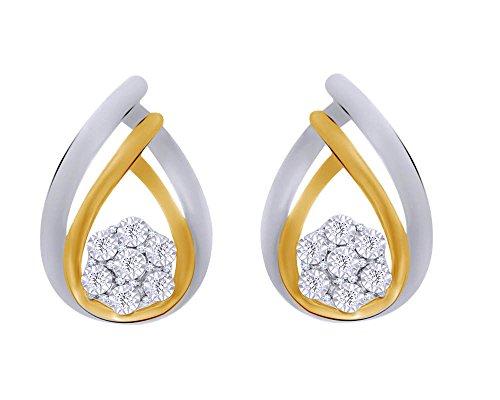 Natural Diamond Accent Flower Double Teardrop Earrings in 14K Gold Over Sterling Silver by Wishrocks