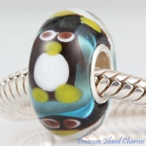 Penguin LAMPWORK Murano Glass .925 European Bead Charm