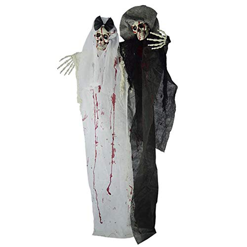 Halloween Decoration Electric Ghost Bride, Eye Glow Horror Sounds Ghost Festival Room Decoration Props, Bar KTV Haunted House Scary Ghost Bride Groom -