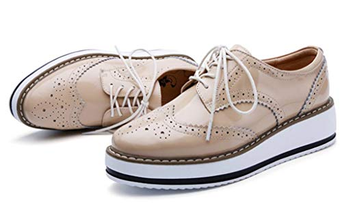 Oxfords Lace Square Toe DADAWEN Wingtips Up Shoe Apricot Women's Platform pfOaaFqBT