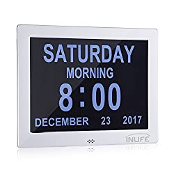 INLIFE Premium Version Day Clock Extra Large Impaired Vision Digital Clock LCD Screen Calendar Dementia Clock with Battery Backup & 8 Alarm Options (Silver Polished Metal Frame)