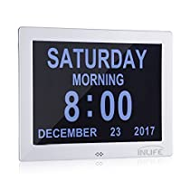 InLife Digital Alarm Clock 2018 Calendar Dementia Clock with Battery Backup for Vision Impaired, Elderly and Memory Loss People