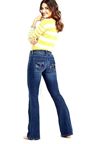 Jack-D Womens Juniors Luscious Curvy Basic Bootcut/Straight Denim Jeans Stretch (11, Dark Blue WG0005)