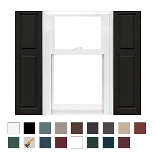 Mid-America Williamsburg Vinyl Cottage Style Standard Shutter 67'' Long - 1 Pair - x 12'' wide - 002 Black by Mid-America (Image #2)