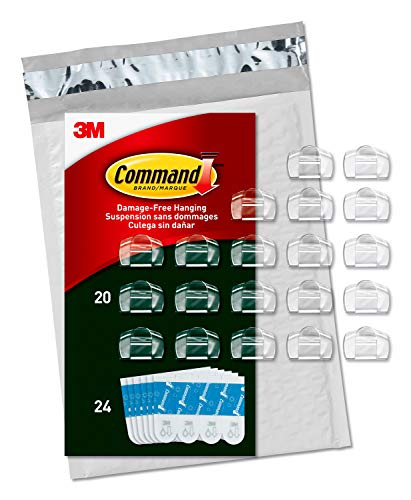 Command Outdoor Light Clips, Clear, 20 clips, 24 strips (AW017-20NA) (Decorating Indoor Porch)