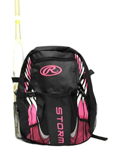 (Rawlings Storm Girls T-Ball Softball Batting Bag Backpack Black/Pink)