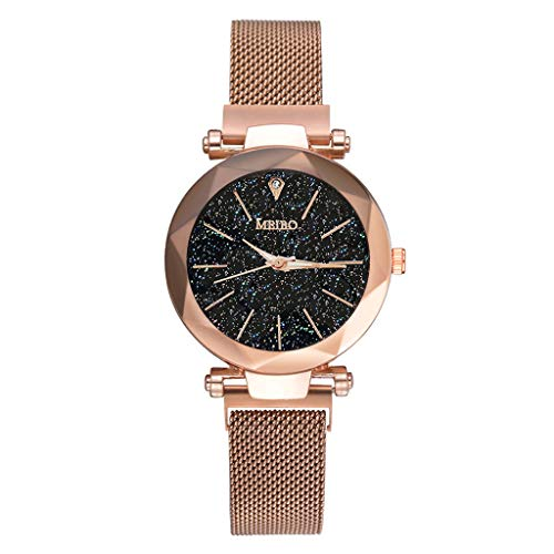 2019 Spring Deals! Fashion Women Watches Quartz Stainless Steel Band Magnet Buckle Starry Sky Analog Wrist Watch Lover Gift Valentine's Day present (Gold) ()