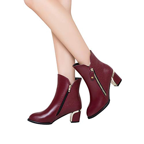 High Pointed England Thick Shoes Bare Fashion Heels Wine Goldatila Heel with Boots Ankle Bare Boots Boots Shoes Women's Pointed Pumps Boots Martin x4qRXpn