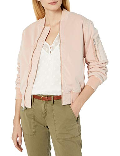 Hudson Jeans Women's Gene Puffy Bomber Jacket, Sun Kissed Pink Destructed, X-Small