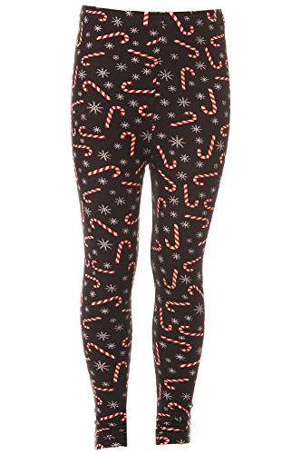 Kid's Candy Cane Snowflake Pattern Printed Leggings - S/M]()