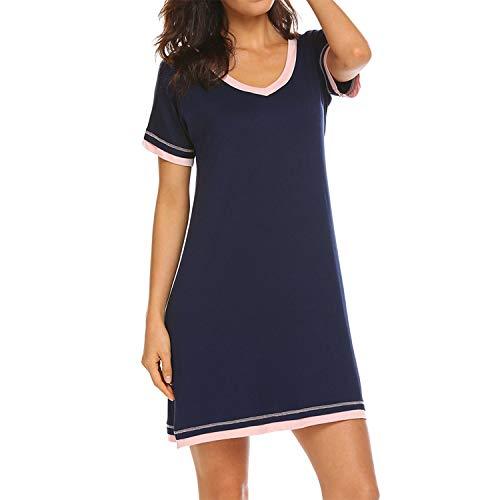Lu's Chic Women's Cotton Nightgown Short Sleeves Nightdress V Neck Comfy Pajama Sleepwear