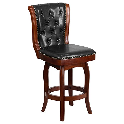 - Offex 26'' High Cherry Wood Finish Counter Height Stool with Black Leather Swivel Seat