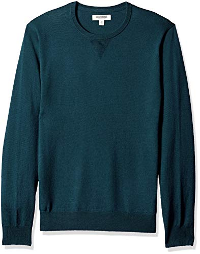 Goodthreads Men's Merino Wool Crewneck Sweater, deep Teal, Large (Mens Knit Sweater)
