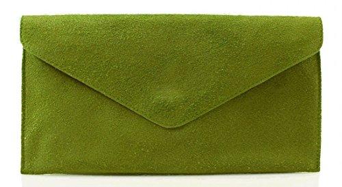 Envelope bag Olive Clutch bag bag Wrist bag bag bag Verapelle Shaped Genuine Evening bag Party Underarm Italian Suede Suede Green Shoulder Leather Genuine Large Sdwq48CS