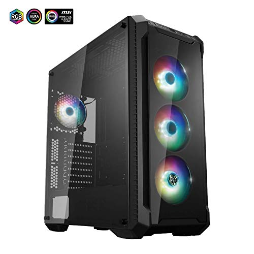 FSP E-ATX Mid Tower PC Gaming Case with 2 Translucent Tempered Glass Panels, 4 Addressable RGB Fans, ASUS & MSI Motherboard Sync (CMT520 - Sync Plus