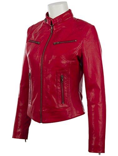 Giacca moda da in donna di super MDK moto pecora Rosso morbida vera molto di pelle rrCwROq