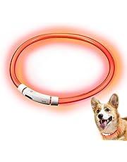 Hunde Leuchthalsband LED, Rymall Hundehalsband Leuchtband Leuchtschlauch Blink Hundehalsband 60cm, aden per USB, 3 Modell Blink, von Fashion&Cool
