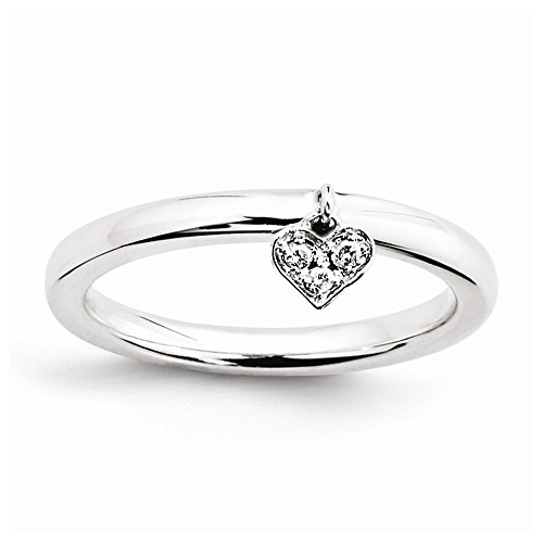 Sterling Silver Polished Prong set Rhodium-plated Stackable Expressions Dangle Heart Diamond Ring - Size 5