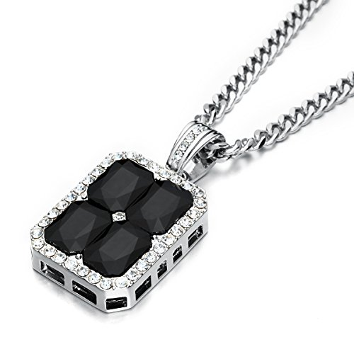 Black Lab Charm - Angelcrab Men's Black Lab Diamond Block Iced out Pendant Necklace, 28'' inch