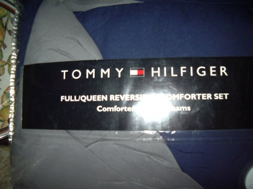 (Tommy Hilfiger Full/Queen Reversible Comforter Set BLUE/GRAY)