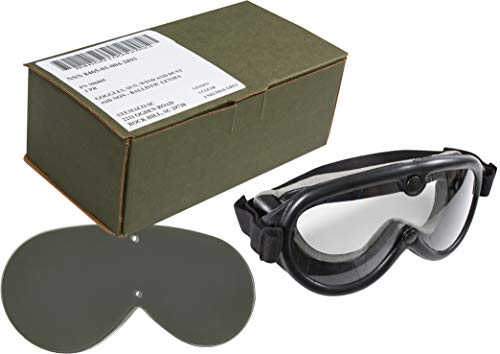 Genuine US Army GI Sun, Wind & Dust SWDG Military Goggles - Black with 2 Lenses Included (USA ()