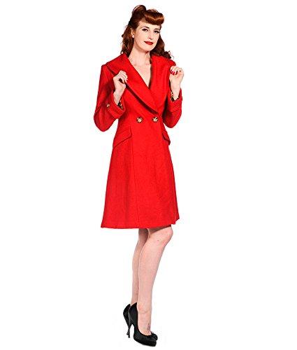 Banned Vintage Stil Leopard-kragen Mantel Wollmischung Rot - Rot, UK 16 (XL)