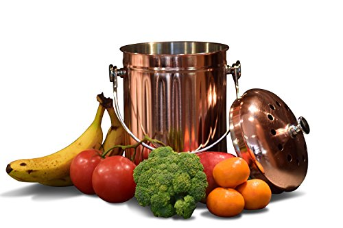 Kitchen Countertop Compost Bin with Lid, Copper Plated Stainless Steel Pail with Bonus 1 Years Worth of Activated Charcoal Filters (1.3 Gallon)