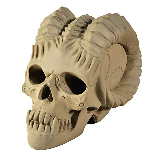 Myard Fireproof Demon Fire Pit Skull (Hollow, Flame from Eye Holes) Gas Log for Fireplace, Firepit, Camp Fire, Halloween Decor (Qty 1, Gray) -