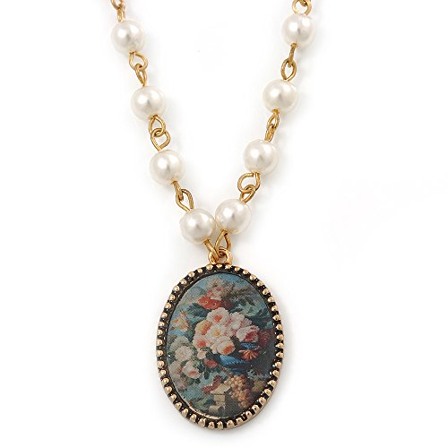Avalaya Floral Cameo Medallion Pendant On Faux Pearl Chain with T- Bar Closure in Gold Tone - 38cm L