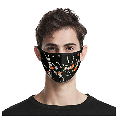 ThsiJJ 1/4/5 PC Face Covering Halloween Print Unisex Reusable Mouth Bandanas Neck Gaiter Windproof for Teen Men Women