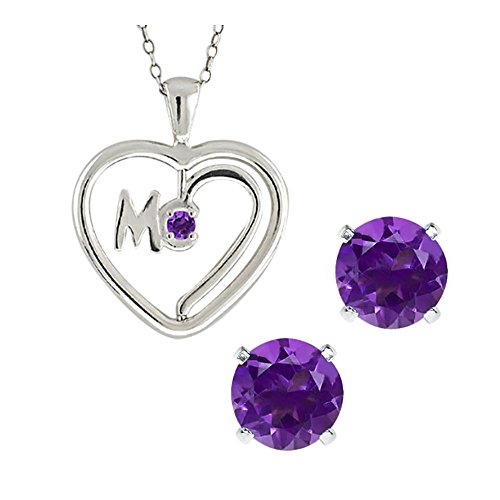 Studs Jewelry Spinning (Sterling Silver 1.50 Ct Spinning Mom Amethyst Heart Pendant Studs Set 18