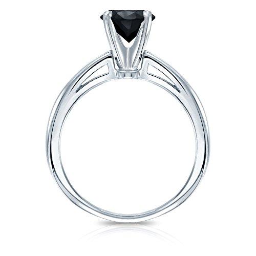 18k Gold Round cut Black Diamond 4 Prong Solitaire Ring (1 cttw, Black color)Size 4 9