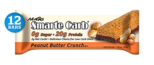 NuGo Smarte Carb Peanut Butter Crunch, 20g Protein, 0g Sugar, 2g Net Carbs, 160 Calories, 12 Count (High Fat Low Carb Low Protein Foods)