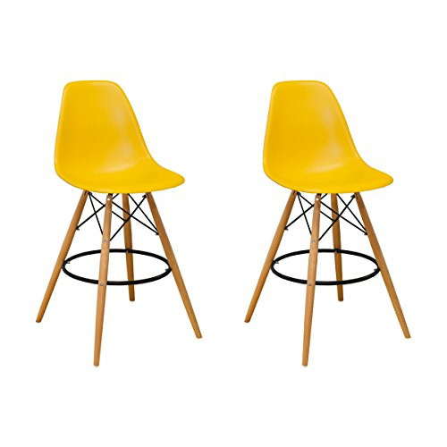 Mod Made Mid Century Modern Armless Paris Tower Barstool Chair with Natural Wood Legs for Bar or Kitchen- Yellow (Set of 2) (Paris Dining Stool)