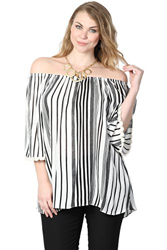 Shirt Woven Vertical Stripe (TheMogan Women's Stripe Off Shoulder Crochet 3/4 Sleeve Woven Top Black 3XL)