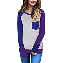 Naier Womens Long Sleeve Shirts Color Splicing Spring Top Sweater