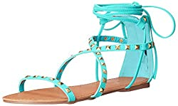 Qupid Women's Archer-158 Gladiator Sandal, Turquoise, 8 M US