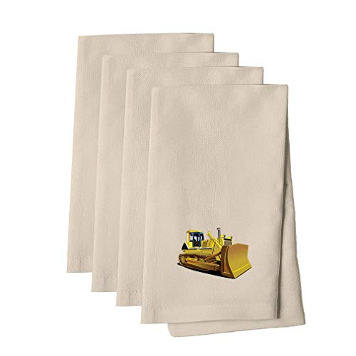 Yellow Dozer Car Auto Cotton Canvas Dinner Napkin, Set of 4 Cloth Napkin Set