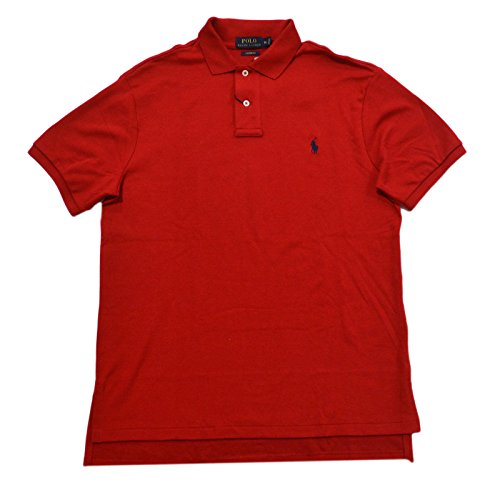 Polo Ralph Lauren Mens Custom Fit Interlock Polo Shirt (Large, RL 2000 Red)