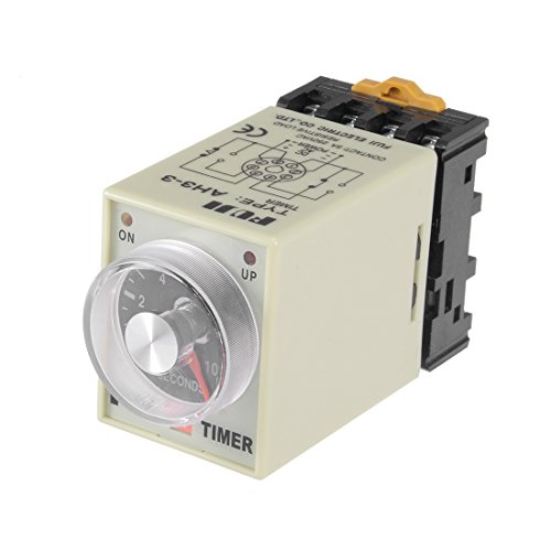 erminals Range Adjustable Delay Timer Time Relay AH3-3 with Base ()
