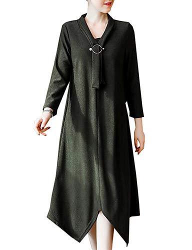 tinta Fiocco chic Street Pieghettato unita linea Women's YFLTZ Sofisticata A Green Dress 0qx8FfwE