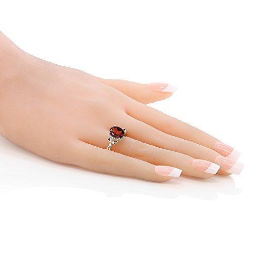 2.87 Ct Oval Red Garnet 14K White Gold Ring (Ring Size 8) by Gem Stone King (Image #3)